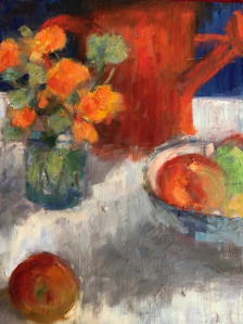 Nasturtiums and Apples, Marcelle Gray