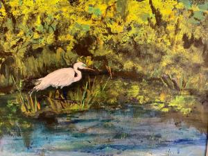 Egret in the Marsh, Medha Kulkarni