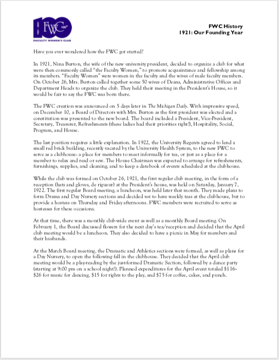 Screenshot of 1921: Our Founding Year article